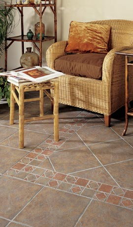 Glazed tile flooring